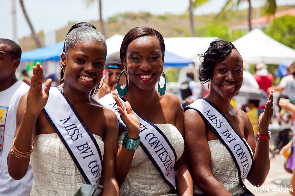 Miss BVI Contestants #5 Sharie DeCastro (L), #2 MIchelle Parsons, and #3 Latoya Donovan.  St. John Carnival 2012 © Aisha-Zakiya Boyd