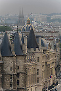 France. Paris. Elevated view  on the Conciergerie and Paris cityscape. Seine river, and  bridges. view  from The hotel de ville bell tower  Paris