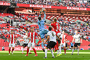 David Gregory of Bromley FC (1) collects the ball during the FA Trophy match between Brackley Town and Bromley at Wembley Stadium, London, England on 20 May 2018. Picture by Stephen Wright.