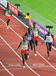 London, August 12 2017 . Muktar Edris, Ethiopia, sprints to glory ahead of Mo Farah, Great Britain, and Paul Kipkemoi Chelimo, USA, in the men's 5000m final on day nine of the IAAF London 2017 world Championships at the London Stadium. © Paul Davey.