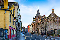 View up the Royal Mile in Edinburgh with Museum of Edinburgh on left and Tollbooth on the right, Scotland, UK