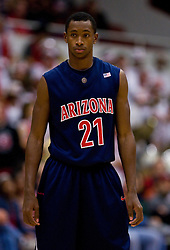 February 27, 2010; Stanford, CA, USA;  Arizona Wildcats guard Kyle Fogg (21) during the first half against the Stanford Cardinal at Maples Pavilion. Arizona defeated Stanford 71-69.