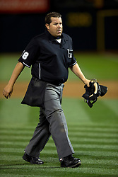 OAKLAND, CA - APRIL 07:  MLB umpire Doug Eddings #88 walks across the field during the seventh inning between the Oakland Athletics and the Texas Rangers at O.co Coliseum on April 7, 2015 in Oakland, California. The Texas Rangers defeated the Oakland Athletics 3-1. (Photo by Jason O. Watson/Getty Images) *** Local Caption *** Doug Eddings