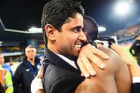 Joie PSG Champion - Blaise MATUIDI / Nasser AL KHELAIFI - 16.05.2015 - Montpellier / Paris Saint Germain - 37eme journée de Ligue 1<br />Photo : Alexandre Dimou / Icon Sport