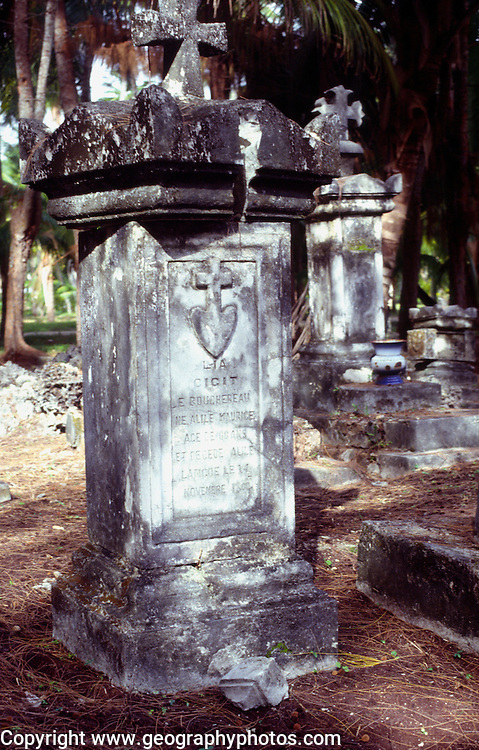 Old stone French colonial gravestones in la Digue island, Seychelles