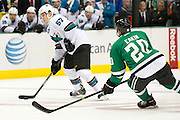 DALLAS, TX - OCTOBER 17:  Tommy Wingels #57 of the San Jose Sharks controls the puck against the Dallas Stars on October 17, 2013 at the American Airlines Center in Dallas, Texas.  (Photo by Cooper Neill/Getty Images) *** Local Caption *** Tommy Wingels