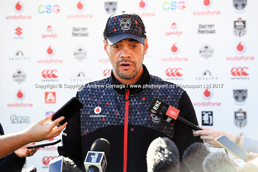 Warriors coach Stephen Kearney during a media announcement that Manu Vatuvei departure from the Vodafone Warriors for English Super League Club Salford. Mt Smart Stadium Auckland, New Zealand. NRL Rugby League. Tuesday 11 July 2017 © Copyright photo: Andrew Cornaga / www.photosport.nz