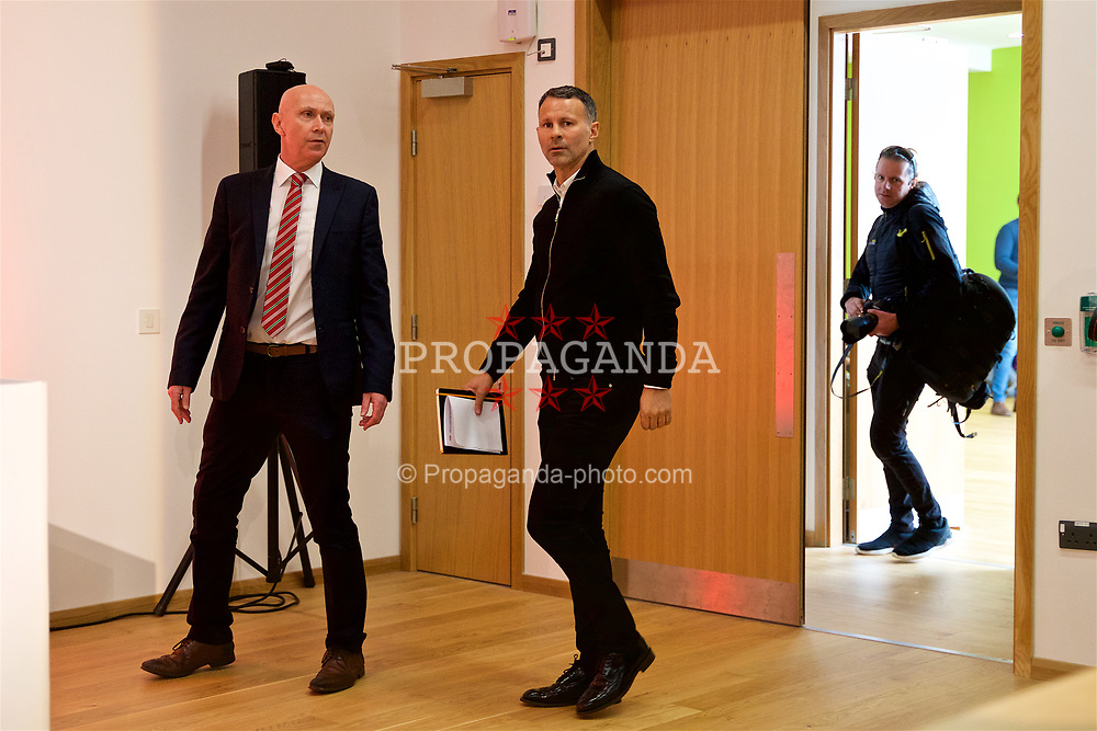 CARDIFF, WALES - Thursday, March 15, 2018: Wales' manager Ryan Giggs and head of public affairs Ian Gwyn Hughes arrive for a press conference at the St Fagans National Museum of History as he announces the squad for the forthcoming China Cup. (Pic by David Rawcliffe/Propaganda)
