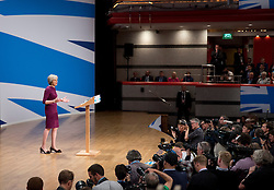 Prime Minister Theresa May delivers her main speech to delegates in the final day of the Conservative party conference at the International Convention Centre, ICC, Birmingham. Wednesday October 5, 2016. Photo credit should read: Isabel Infantes / EMPICS Entertainment.