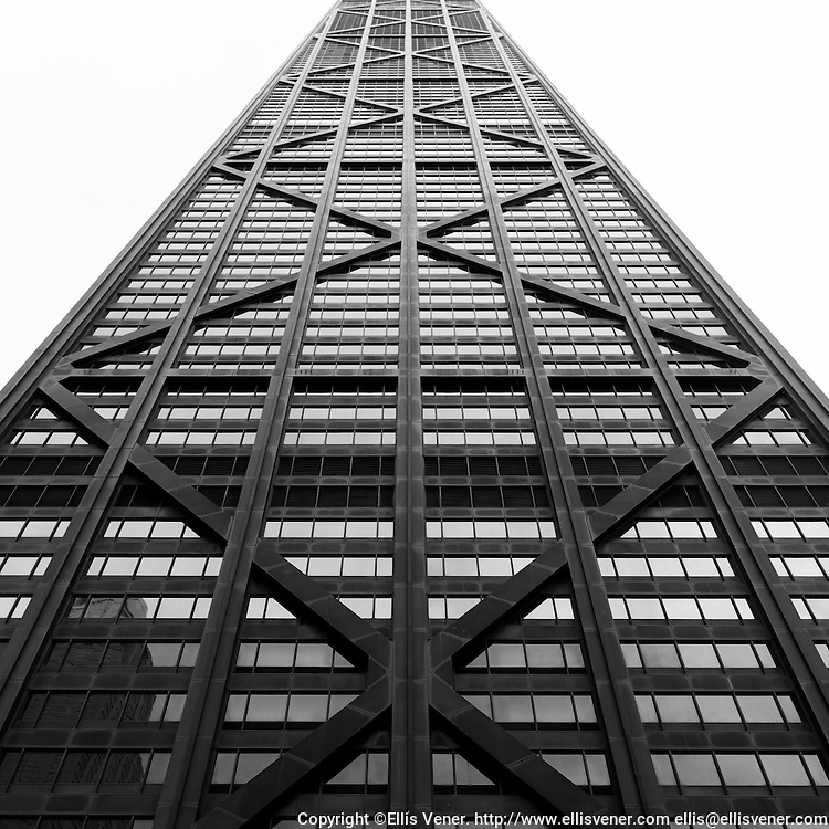 Looking up at the Hancock Tower in Chicago,  Illinois