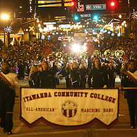 Adam Robison | BUY AT PHOTOS.DJOURNAL.COM<br /> The Itawamba Community College Marching Band marches in the Tupelo Christmas Parade Friday night.