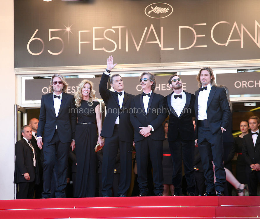 Director Andrew Dominik with Dede Gardner, Ray Liotta, Ben Mendelsohn, Scoot McNairy and  Brad Pitt at the Killing Them Softly gala screening at the 65th Cannes Film Festival France. Tuesday 22nd May 2012 in Cannes Film Festival, France.