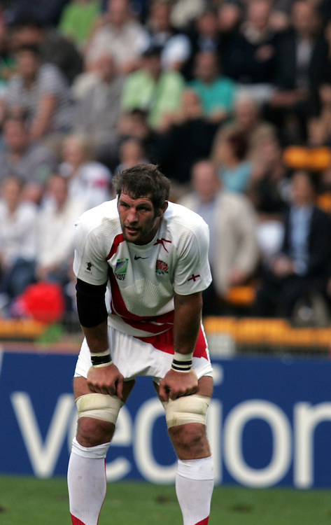 Simon Shaw of England takes a breather. England v USA, Game 4, Rugby World Cup 2007, Lens, France, 8th September 2007.