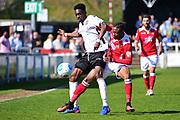 Wrexham Forward Iffy Allen challenges Bromley Midfielder Blair Turgott during the Vanarama National League match between Bromley FC and Wrexham FC at Hayes Lane, Bromley, United Kingdom on 8 April 2017. Photo by Jon Bromley.
