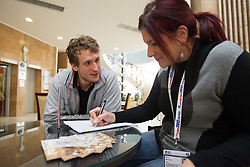 David Miklavcic  of Slovenia Men Handball team and journalist Maja Mastnak during 3rd day of 10th EHF European Handball Championship Serbia 2012, on January 17, 2012 in Hotel Srbija, Vrsac, Serbia.  (Photo By Vid Ponikvar / Sportida.com)