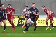 Duhan van der Merwe of Edinburgh in action during todays match<br /> <br /> Photographer Craig Thomas/Replay Images<br /> <br /> Guinness PRO14 Round 11 - Scarlets v Edinburgh - Saturday 15th February 2020 - Parc y Scarlets - Llanelli<br /> <br /> World Copyright © Replay Images . All rights reserved. info@replayimages.co.uk - http://replayimages.co.uk
