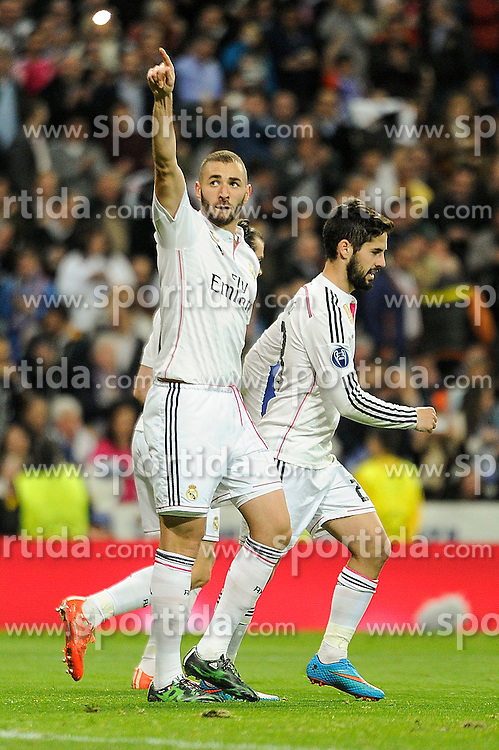 10.03.2015, Estadio Santiago Bernabeu, Madrid, ESP, UEFA CL, Real Madrid vs Schalke 04, Achtelfinal, R&uuml;ckspiel, im Bild Real Madrid&acute;s Karim Benzema celebrate a goal // during the UEFA Champions League Round of 16, 2nd Leg match between Real Madrid and Schakke 04 at the Estadio Santiago Bernabeu in Madrid, Spain on 2015/03/10. EXPA Pictures &copy; 2015, PhotoCredit: EXPA/ Alterphotos/ Luis Fernandez<br /> <br /> *****ATTENTION - OUT of ESP, SUI*****