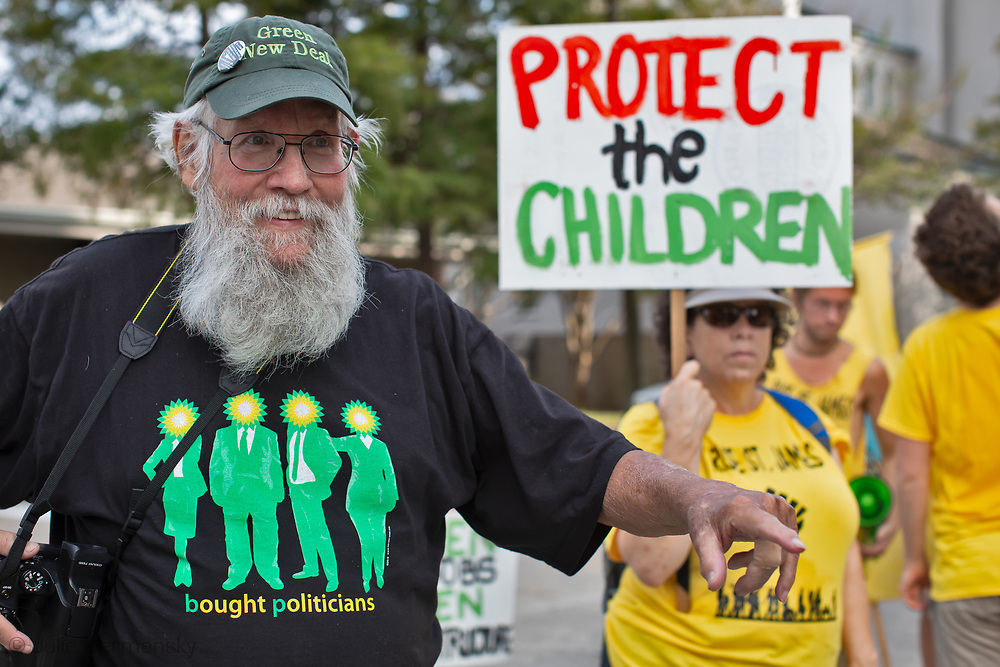 Daryl Malek-Wiley, New Orleans Sierra Club representative, with CADA in Baton Rouge on the last day of its two week protest in front of the building where the Louisiana Chemical Association (LCA) has its office.