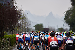 The peloton weave through the karst mountains at GREE Tour of Guangxi Women's WorldTour 2019 a 145.8 km road race in Guilin, China on October 22, 2019. Photo by Sean Robinson/velofocus.com