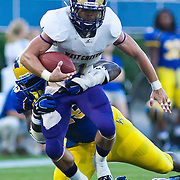 Delaware Defensive tackle Matt Hardison #49 tackles West Chester RB Jackson Fagan #1 at the 15 yard line during a Week 2 NCAA football game against Westchester in the second quarter.<br /> <br /> #8 Delaware defeated Westchester 31-10  in their home opener at Delaware Stadium Saturday Sept. 10, 2011 in Newark DE.<br /> <br /> Delaware will return home Sept. 17, 2011 for a showdown with interstate Rival Delaware State at 6:pm at Delaware Stadium. <br /> <br /> (Monsterphoto/Saquan Stimpson)