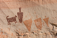 Barrier style pictographs at Horseshoe Gallery site, Horseshoe Canyon, Canyonlands National Park Utah