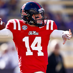 November 17, 2012; Baton Rouge, LA, USA  Ole Miss Rebels quarterback Bo Wallace (14) during warm ups prior to kickoff of a game against the LSU Tigers at Tiger Stadium. LSU defeated Ole Miss 41-35. Mandatory Credit: Derick E. Hingle-US PRESSWIRE