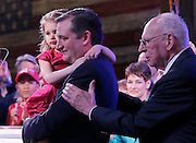 Republican presidential candidate Ted Cruz hold his daughter Catherine while his father Rafael Cruz pats him on the back after he spoke to supporters at his election night party after Super Tuesday in Stafford, Texas, USA, 01 March 2016. Twelve states voted in the early primary on Super Tuesday across the country.