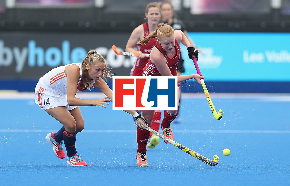LONDON, ENGLAND - JUNE 19: Jacky Schoenaker of Netherlands and Nicola White of Great Britain during the FIH Women's Hockey Champions Trophy match between Netherlands and Great Britain at Queen Elizabeth Olympic Park on June 19, 2016 in London, England.  (Photo by Alex Morton/Getty Images)