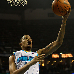 March 30, 2011; New Orleans, LA, USA; New Orleans Hornets small forward Trevor Ariza (1) shoots against the Portland Trail Blazers during the first half at the New Orleans Arena.    Mandatory Credit: Derick E. Hingle