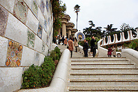 The main set of stairs at the entrance to Park Guell in Barcelona, Spain