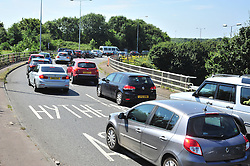 &copy; Licensed to London News Pictures. 23/07/2016<br /> Dover bound traffic and local traffic coming OFF the M20 at Junction 11 and heading towards Hythe to avoid the queueing traffic into Dover because of very long delays at French border contol. <br /> <br /> <br /> (Byline:Grant Falvey/LNP)