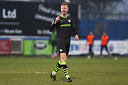Nathan McGinley in action during the EFL Sky Bet League 2 match between Macclesfield Town and Forest Green Rovers at Moss Rose, Macclesfield, United Kingdom on 25 January 2020.