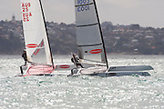 Stephen Brayshaw (AUS25) and Chris Nicholson (AUS1003),  race four of the A Class World championships regatta being sailed at Takapuna in Auckland. 12/2/2014