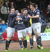 Martin Boyle (23) is mobbed by team mates after scoring his first goal for Dundee- Dundee v Hamilton, SPFL Championship at <br /> Dens Park<br /> <br />  - &copy; David Young - www.davidyoungphoto.co.uk - email: davidyoungphoto@gmail.com