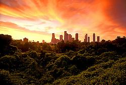 Stock photo of the downtown Houston skyline during a colorful sunrise