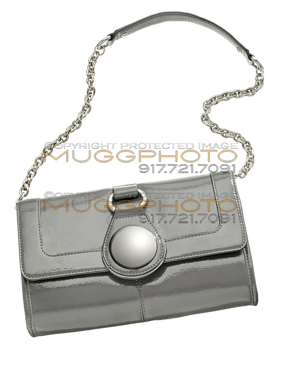 nine west vinyl purse with silver chain strap