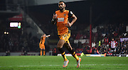 Ahmed Elmohamady in action during the Sky Bet Championship match between Brentford and Hull City at Griffin Park, London, England on 3 November 2015. Photo by Michael Hulf.