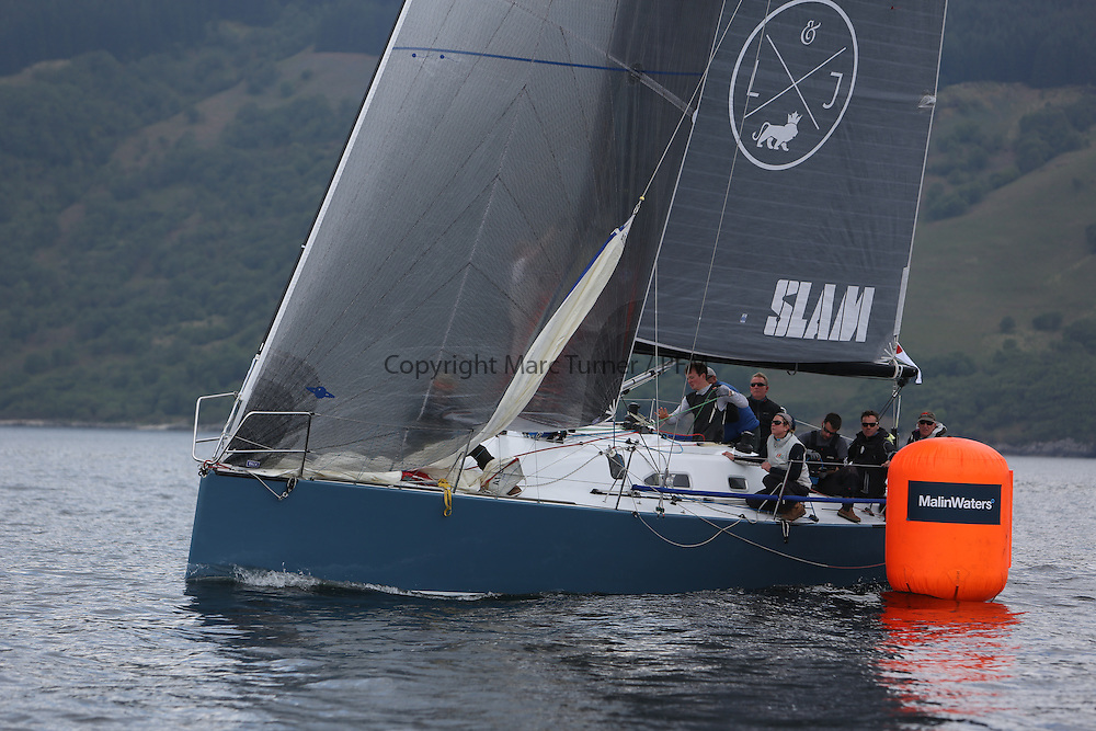 The Silvers Marine Scottish Series 2014, organised by the  Clyde Cruising Club,  celebrates it's 40th anniversary.<br /> GBR7737R, Aurora, Rod Stuart / A Ram, CCC, Corby 37<br /> Final day racing on Loch Fyne from 23rd-26th May 2014<br /> <br /> Credit : Marc Turner / PFM