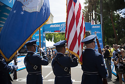 The national anthem was sang before the fourth, 70 km road race stage of the Amgen Tour of California - a stage race in California, United States on May 22, 2016 in Sacramento, CA.