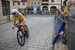 Hayley Simmonds (GBR) of Team WNT accelerates out of the final corner of Stage 4 of the Lotto Thuringen Ladies Tour - a 18.7 km individual time trial, starting and finishing in Schmolln on July 16, 2017, in Thuringen, Germany. (Photo by Balint Hamvas/Velofocus.com)