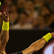 Rafael Nadal of Spain in action during his victory over Gilles Simon of France during the Men's Quarter FInals at the Australian Tennis Open on January 28, 2009 in Melbourne, Australia. Photo Tim Clayton    .