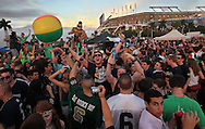 Notre Dame fans during tailgate party before the Notre Dame vs Alabama game at the Discover BCS Championship at Sun Life Stadium on Monday, January 7, 2013