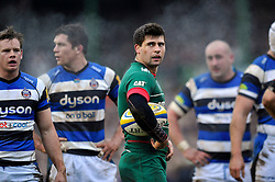Ben Youngs of Leicester Tigers looks on during a break in play - Photo mandatory by-line: Patrick Khachfe/JMP - Mobile: 07966 386802 04/01/2015 - SPORT - RUGBY UNION - Leicester - Welford Road - Leicester Tigers v Bath Rugby - Aviva Premiership