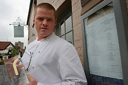 UK ENGLAND BERKSHIRE BRAY 28APR04 -Owner and head chef at The Fat Duck restaurant, Heston Blumenthal poses with his recently won award outside his establishment in the village of Bray, Berkshire. The Fat Duck recently won the second best award amongst the world's best restaurants and was awarded its third Michelin Star in January.....jre/Photo by Jiri Rezac for Bild am Sonntag....© Jiri Rezac 2004....Contact: +44 (0) 7050 110 417..Mobile:  +44 (0) 7801 337 683..Office:  +44 (0) 20 8968 9635....Email:   jiri@jirirezac.com..Web:    www.jirirezac.com....© All images Jiri Rezac 2004 - All rights reserved.