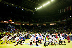 Dancers perform during closing ceremony after the final handball match between Serbia and Denmark at 10th EHF European Handball Championship Serbia 2012, on January 29, 2012 in Beogradska Arena, Belgrade, Serbia. Denmark defeated Serbia 21-19 and became European Champion 2012. (Photo By Vid Ponikvar / Sportida.com)