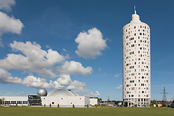 Modern building of Ahhaa science center and skyskraper Tigutorn in Tartu, Estonia.