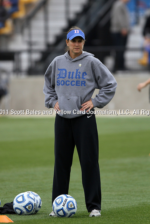 04 December 2011: Duke assistant coach Carla Overbeck. The Stanford University Cardinal defeated the Duke University Blue Devils 1-0 at KSU Soccer Stadium in Kennesaw, Georgia in the NCAA Division I Women's Soccer College Cup Final.