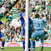 Celtic v St Johnstone...22.08.09 <br /> Scott McDonald scores to make it 5-1<br /> Picture by Graeme Hart.<br /> Copyright Perthshire Picture Agency<br /> Tel: 01738 623350  Mobile: 07990 594431