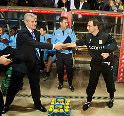 BIRMINGHAM, ENGLAND - Monday, October 5, 2009: Manchester City's manager Mark Hughes and Aston Villa's manager Martin O'Neill before the Premiership match at Villa Park. (Pic by David Rawcliffe/Propaganda)