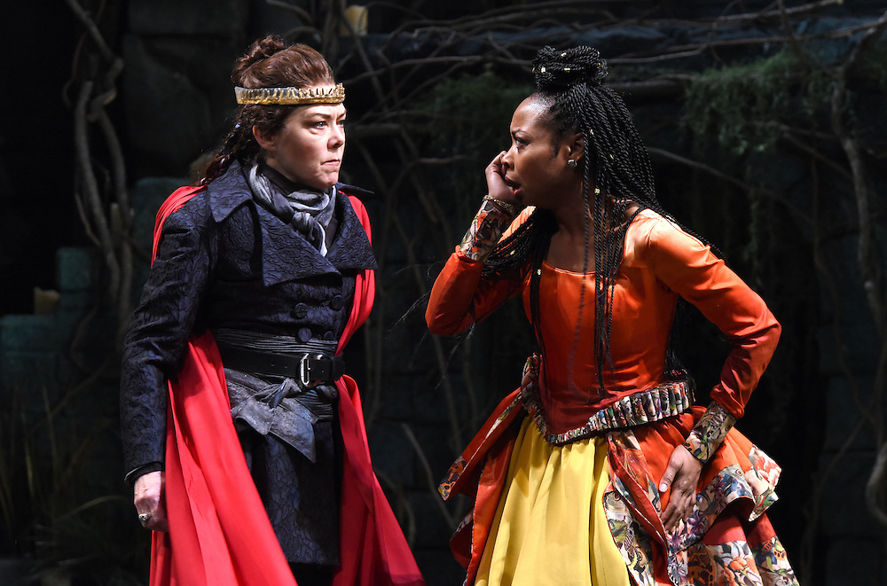 Mara Lavitt -- Special to the Hartford Courant<br /> March 24, 2016<br /> The run-through of William Shakespeare's &quot;Cymbeline,&quot; at the University Theatre at Yale. Kathryn Meisle as Cymbeline, King of Britain, left, and Sheria Irving as Imogen, Cymbeline's daughter.